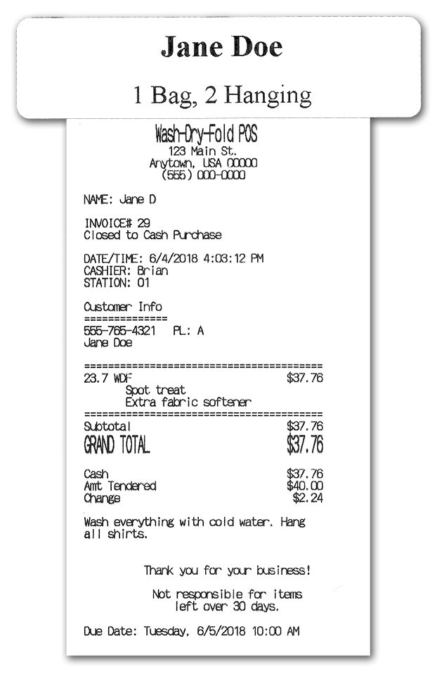 Drop-off laundry service point-of-sale POS receipt