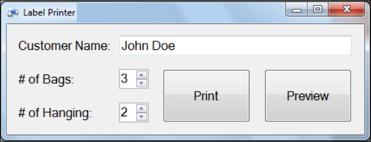 Label printer program close-up