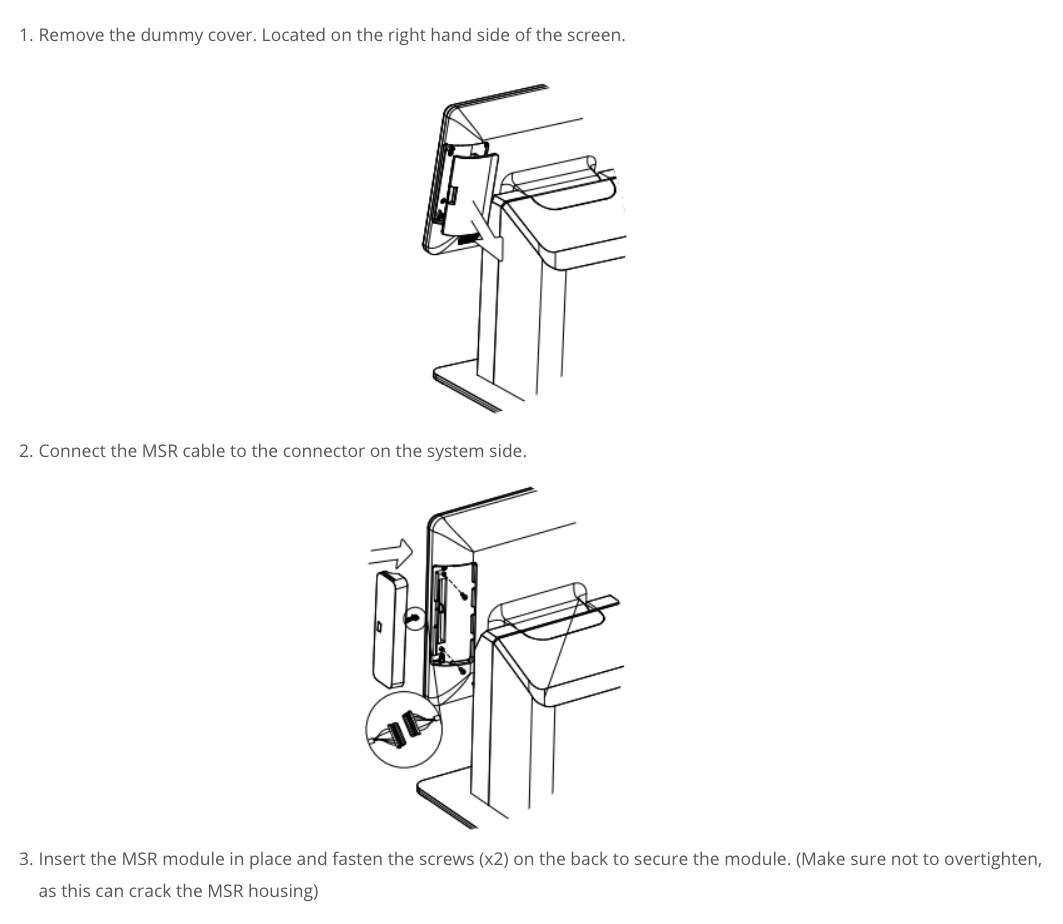 How to attach the magnetic stripe reader to the side of your monitor.