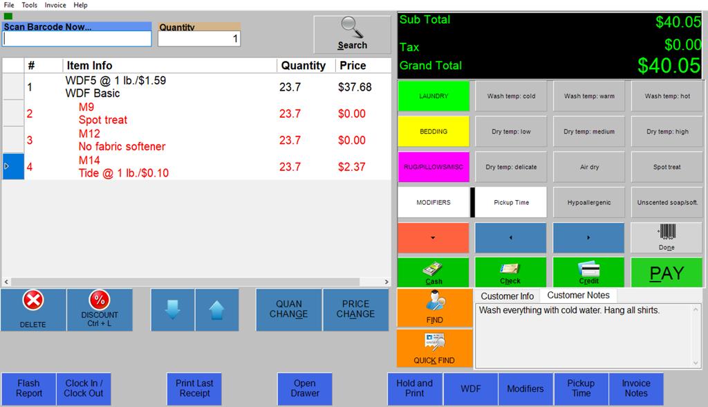 Wash-Dry-Fold POS screenshot showing modifiers