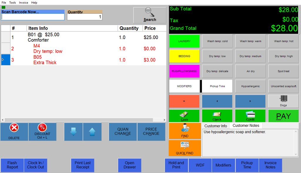 Wash-Dry-Fold POS screenshot showing upcharges